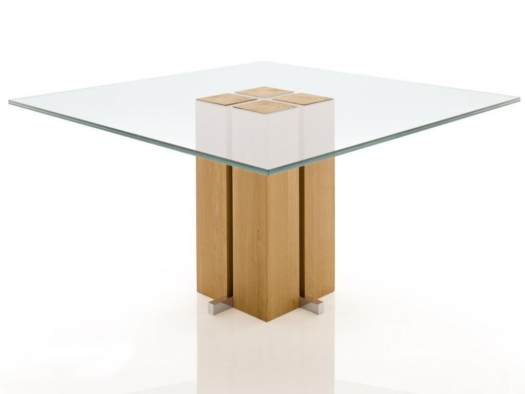 Dimensioni Standard Tavolo Cucina tavolo da pranzo quadrato alira con basamento a colonna in legno