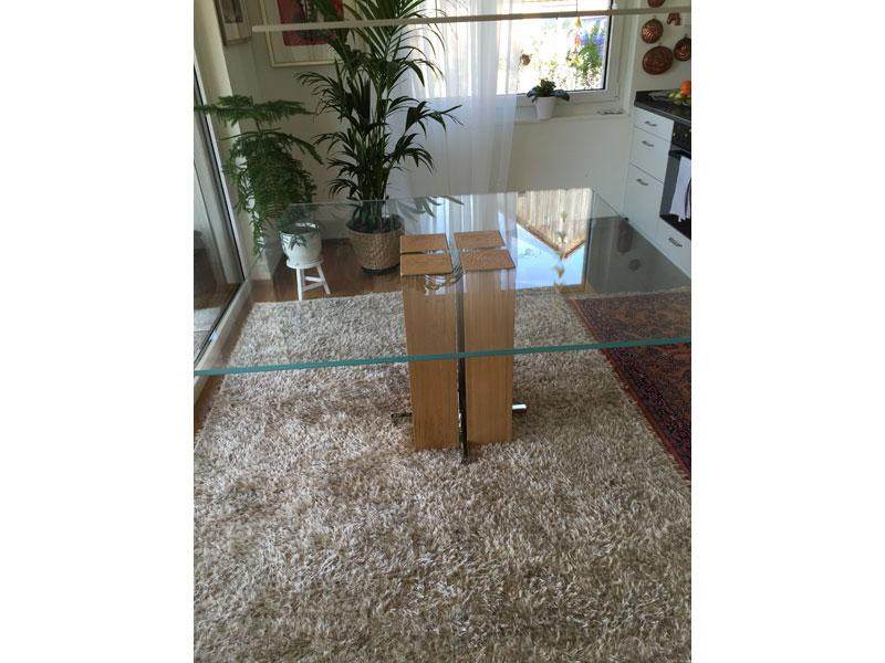 Esstisch Alira Eiche 140cm X 140cm Geoelt Glassplatte Bild 1